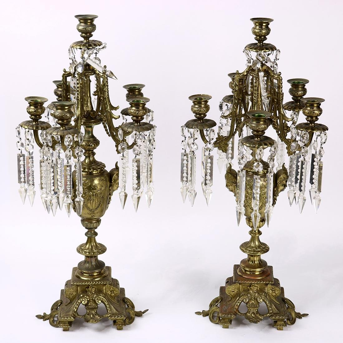 (lot of 2) Renaissance style  brass 6-light candelabra,