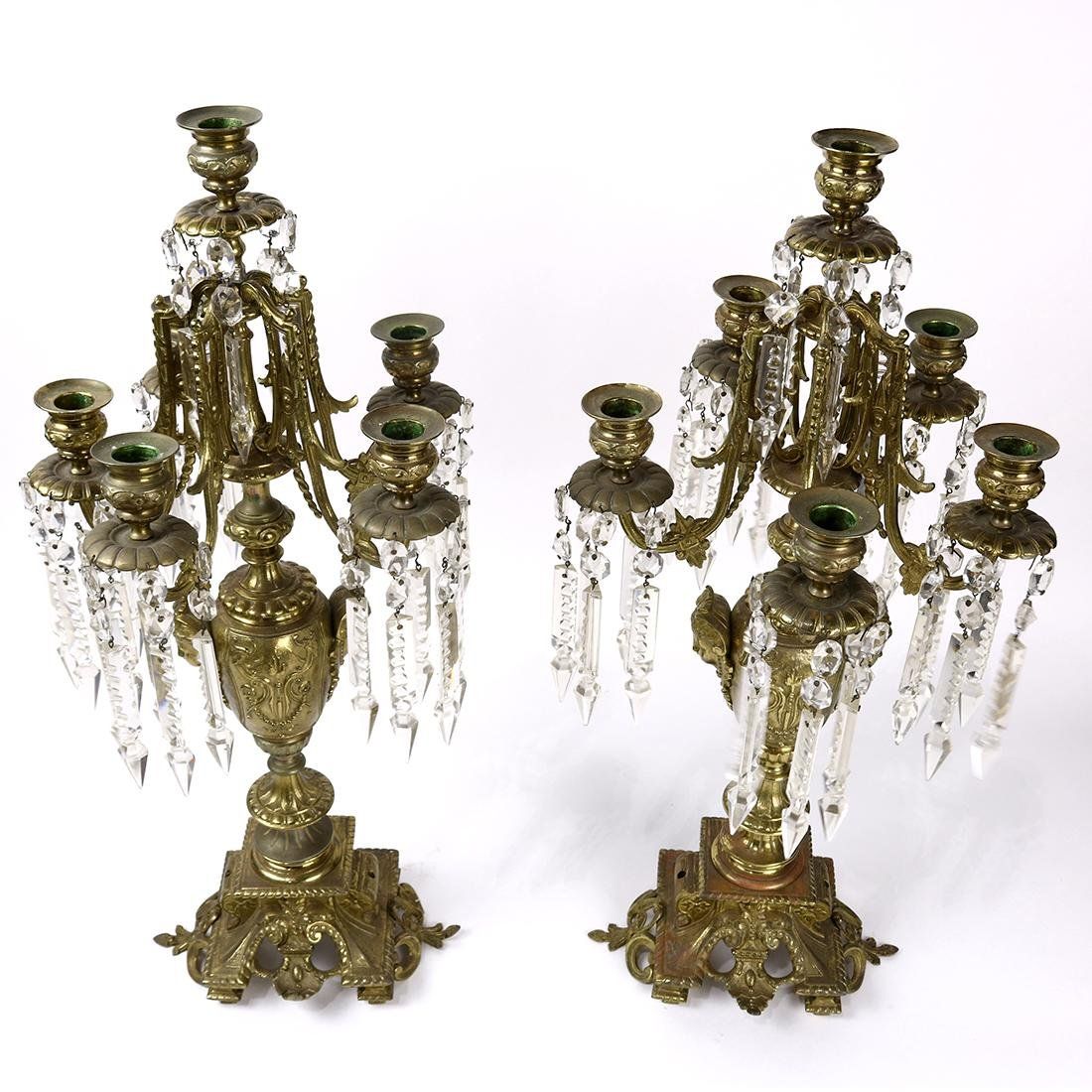(lot of 2) Renaissance style  brass 6-light candelabra, - 2