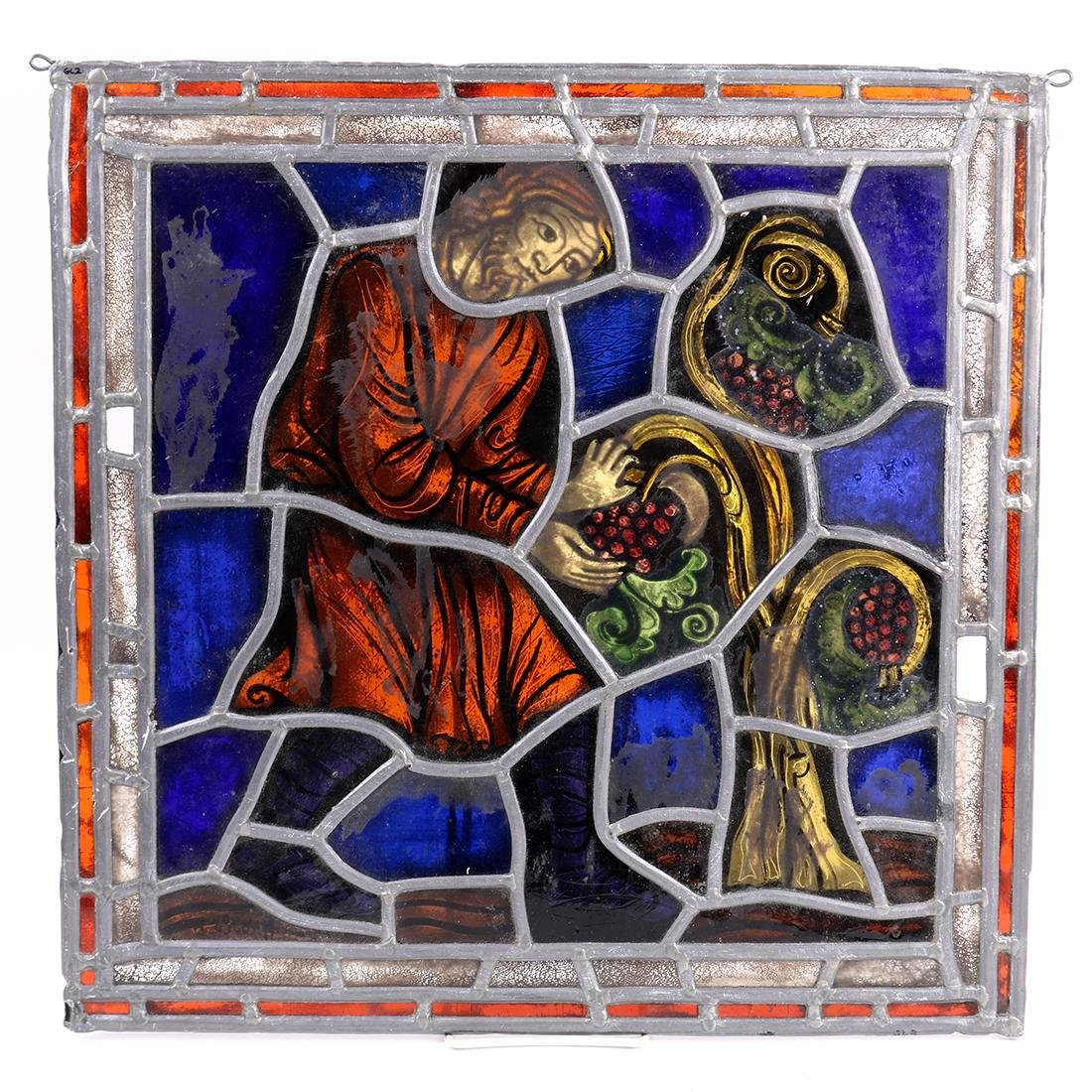 Abstract stained glass window, having polychrome glass