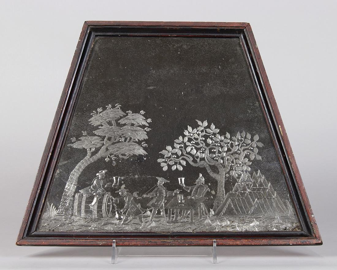 Federal reverse etched mercurial mirror, 19th Century,