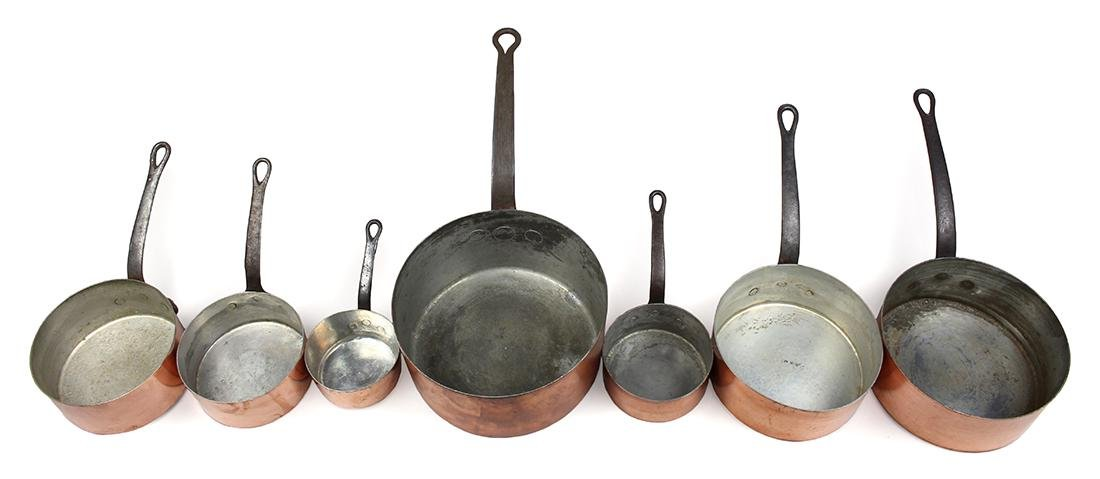 (lot of 7) French copper cookware group circa 1900