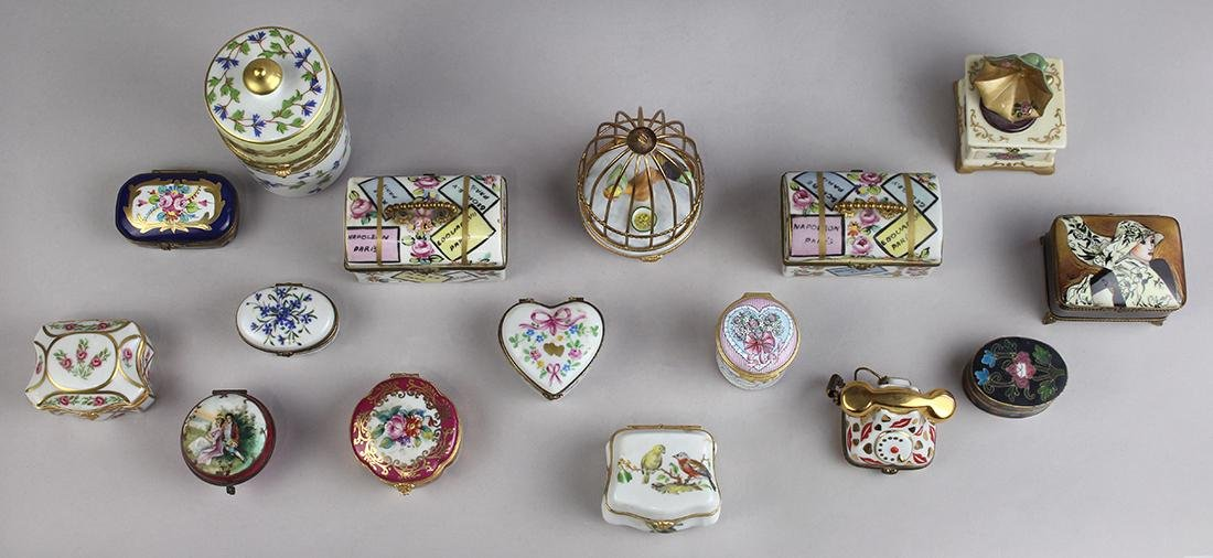 (lot of 16) French Limoges porcelain snuff box group, - 2