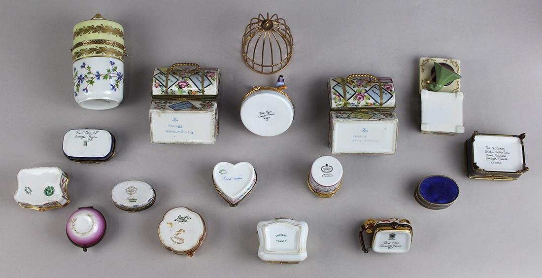(lot of 16) French Limoges porcelain snuff box group, - 4