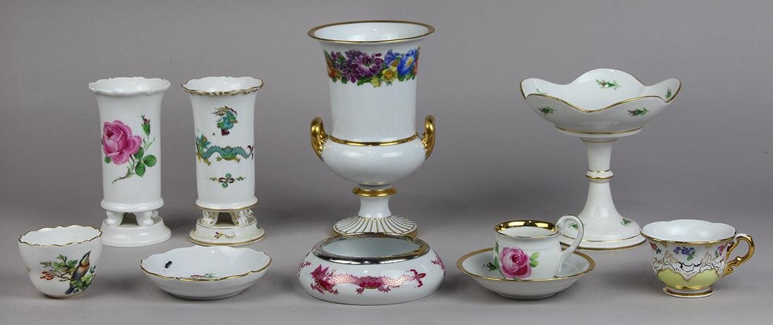 (lot of 10) Associated Meissen table articles, 20th