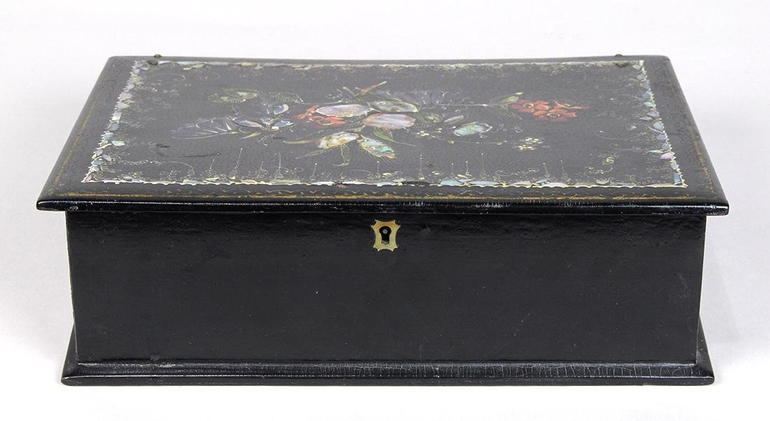 Victorian black lacquer lap desk, circa 1890, having