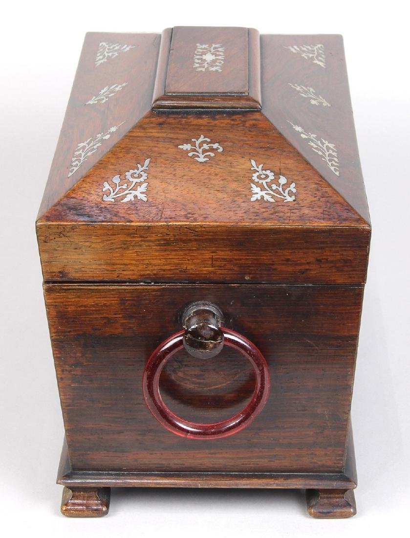 Edwardian rosewood casket form tea caddy, having mother - 2