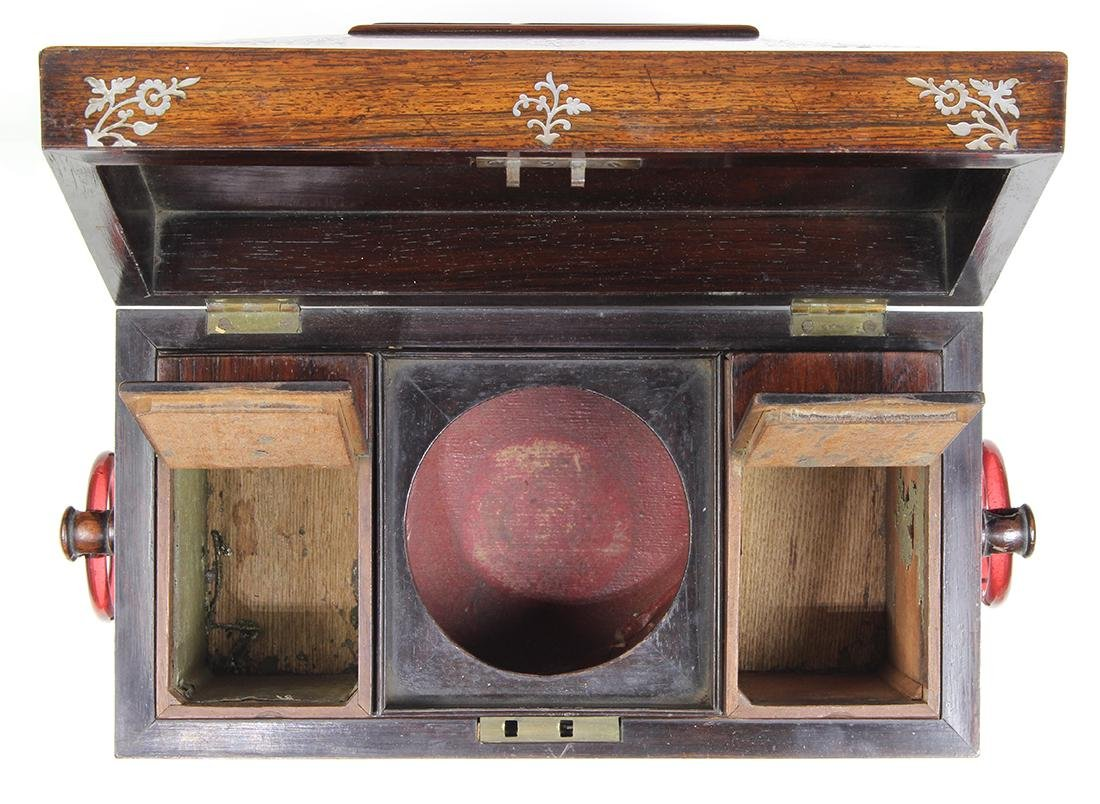 Edwardian rosewood casket form tea caddy, having mother - 6
