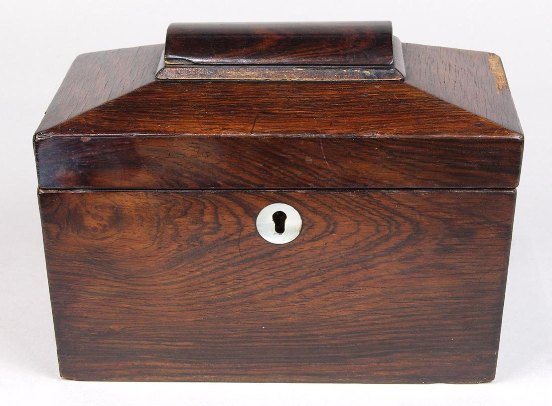 Edwardian fruitwood casket form tea caddy