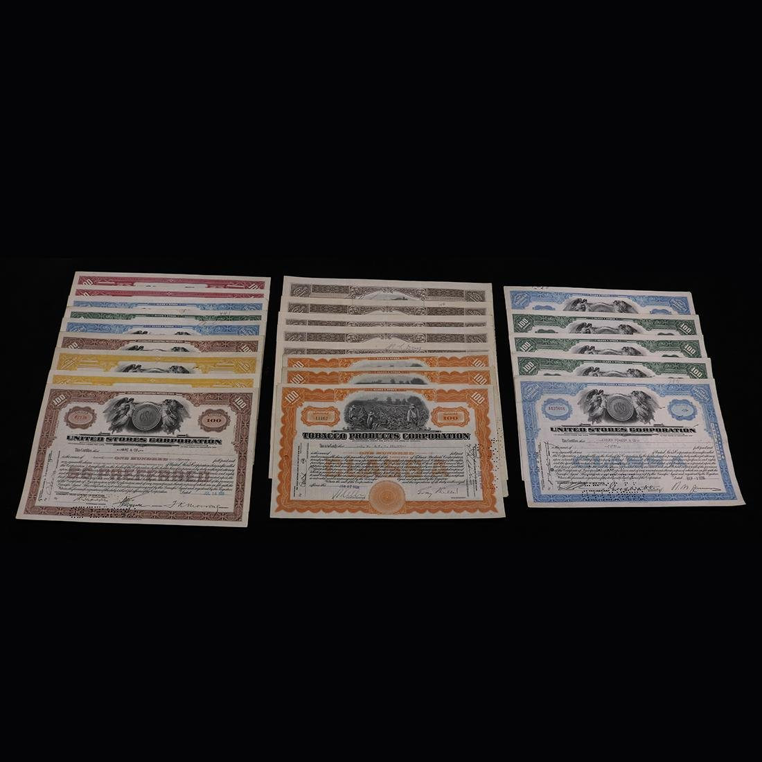 (lot of 25) Stocl certificates from Tobacco Products