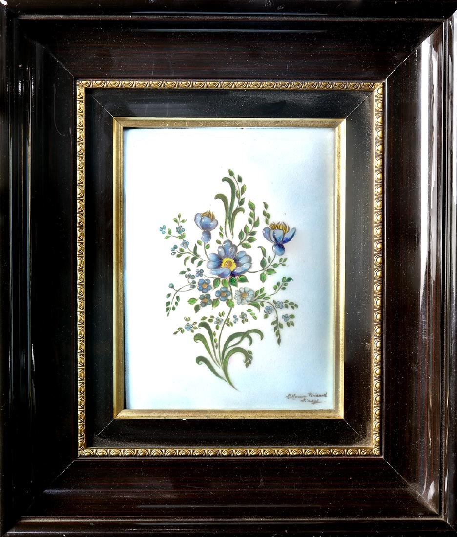 Enamel painted plaque having central floral reserve,