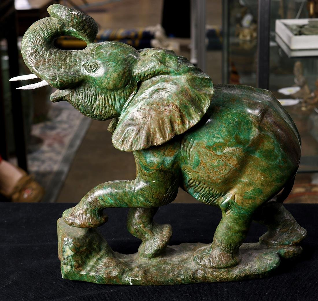Elephant, 20th Century, executed in variegated green