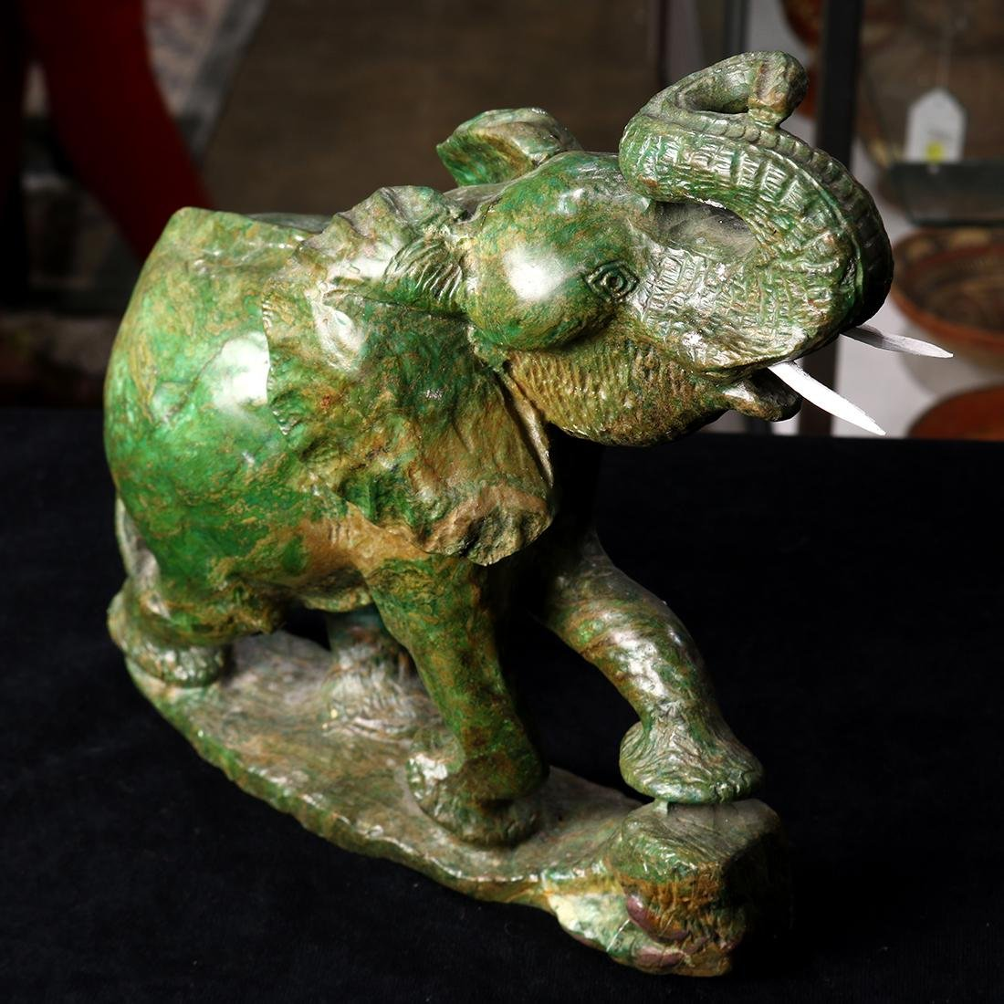 Elephant, 20th Century, executed in variegated green - 2