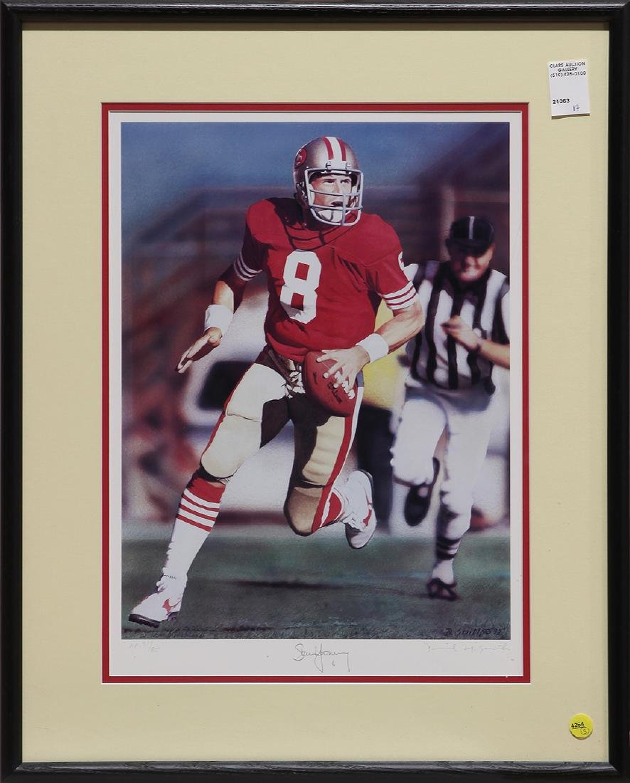 (lot of 3) Framed football sports memorabilia group