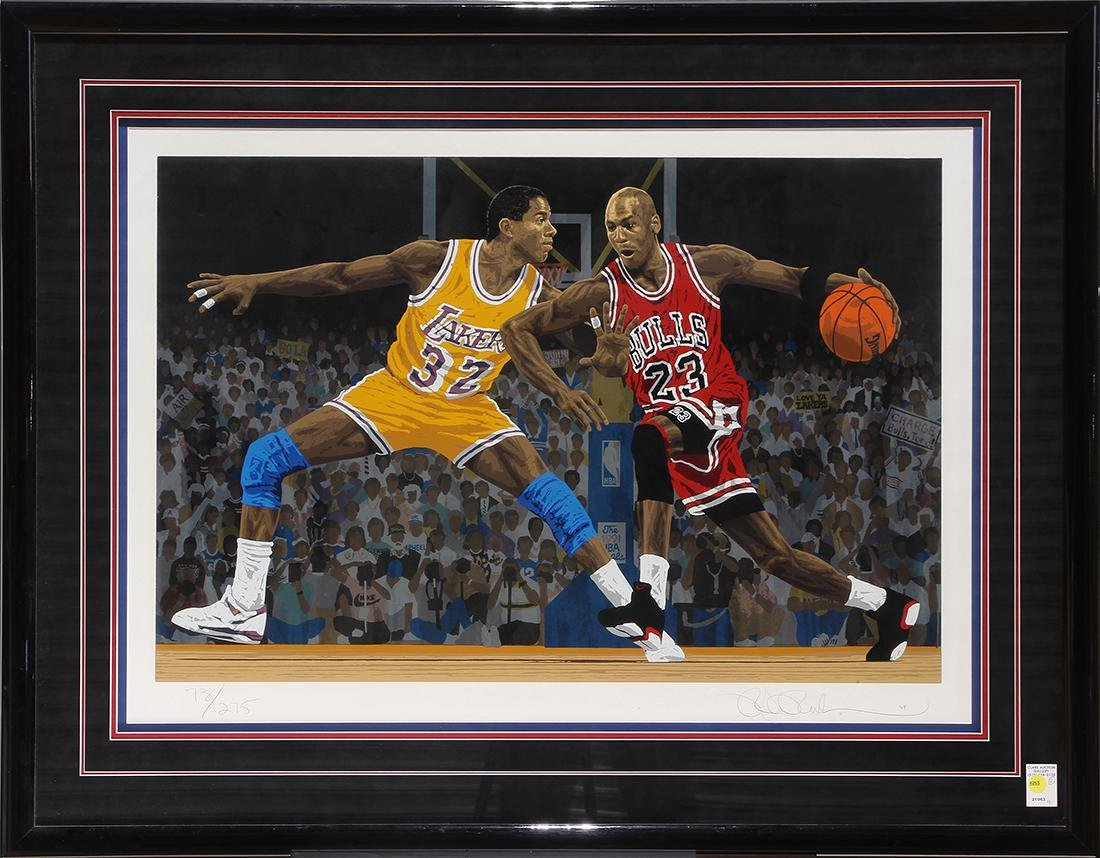 (lot of 2) Framed basketball sports memorabilia group