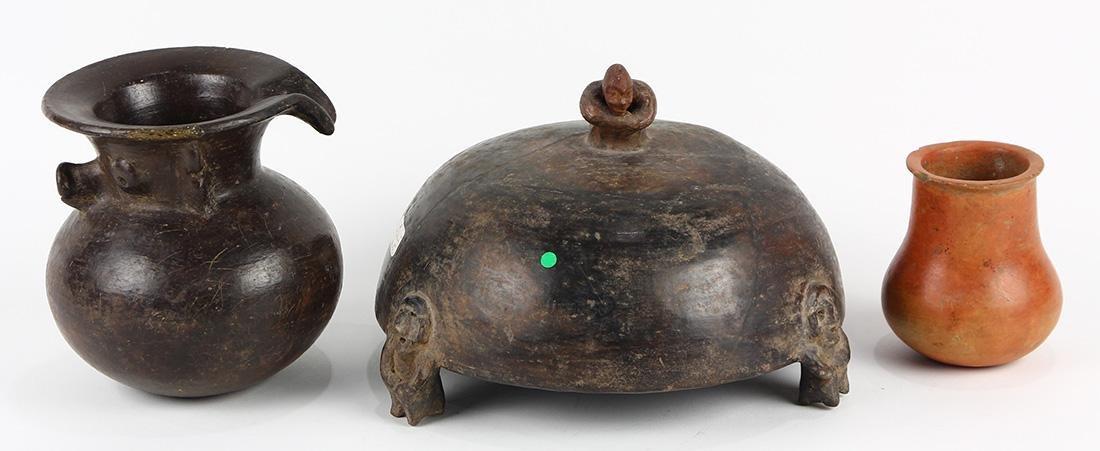 (lot of 3) Pre-Columbian ceramic articles
