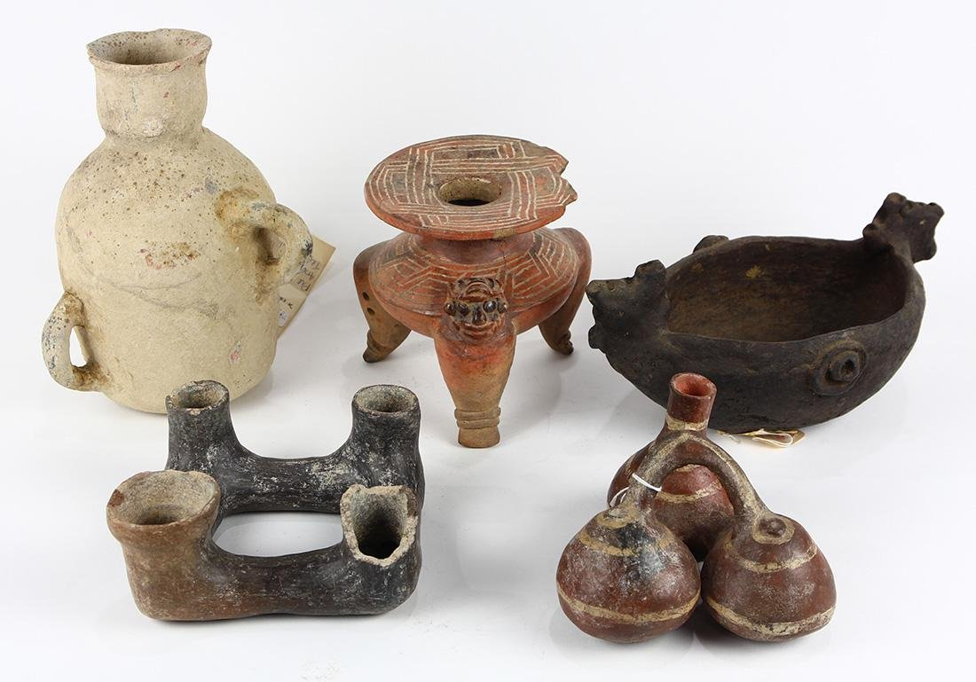 (lot of 5) Pre-Columbian ceremonial ceramic vessels