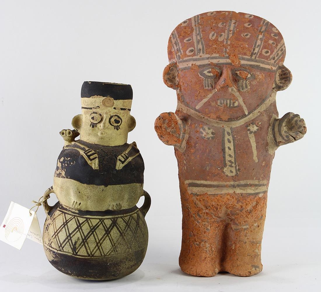 (lot of 2) Pre-Columbian ceramic moon goddess figures