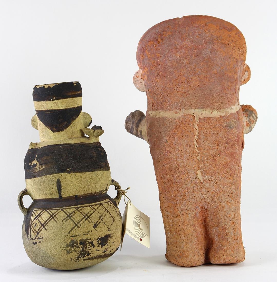 (lot of 2) Pre-Columbian ceramic moon goddess figures - 2