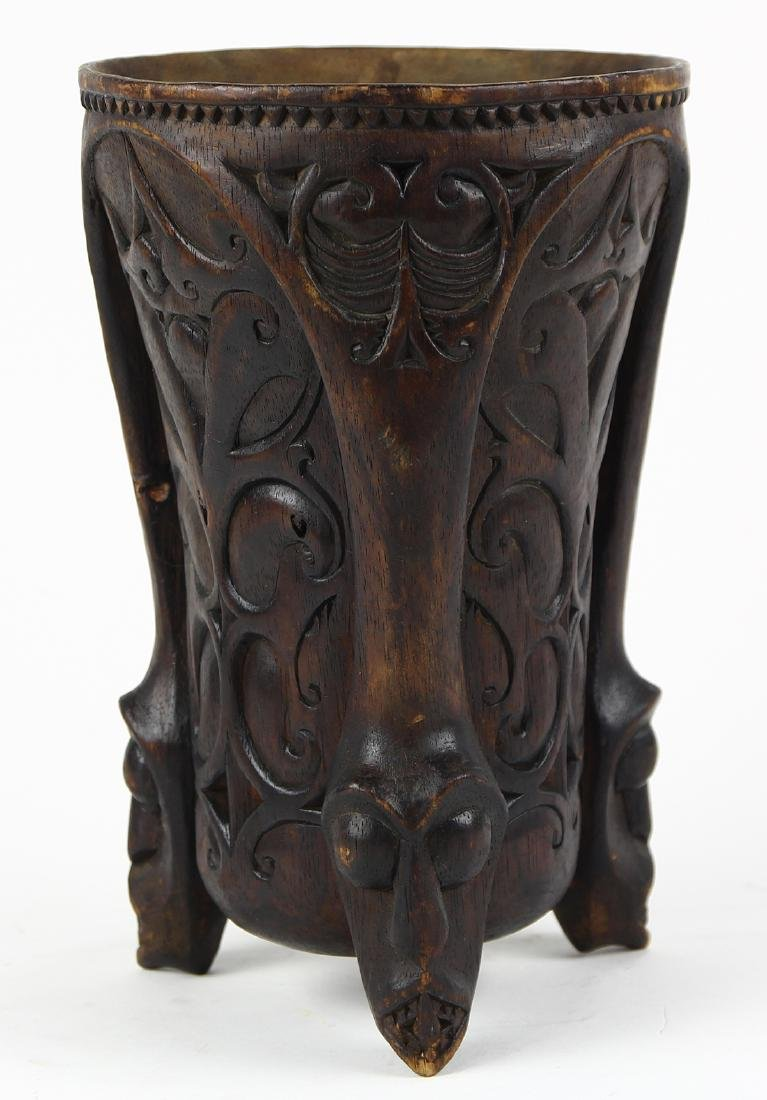 Cook Island style decorative carved wood tripod vessel