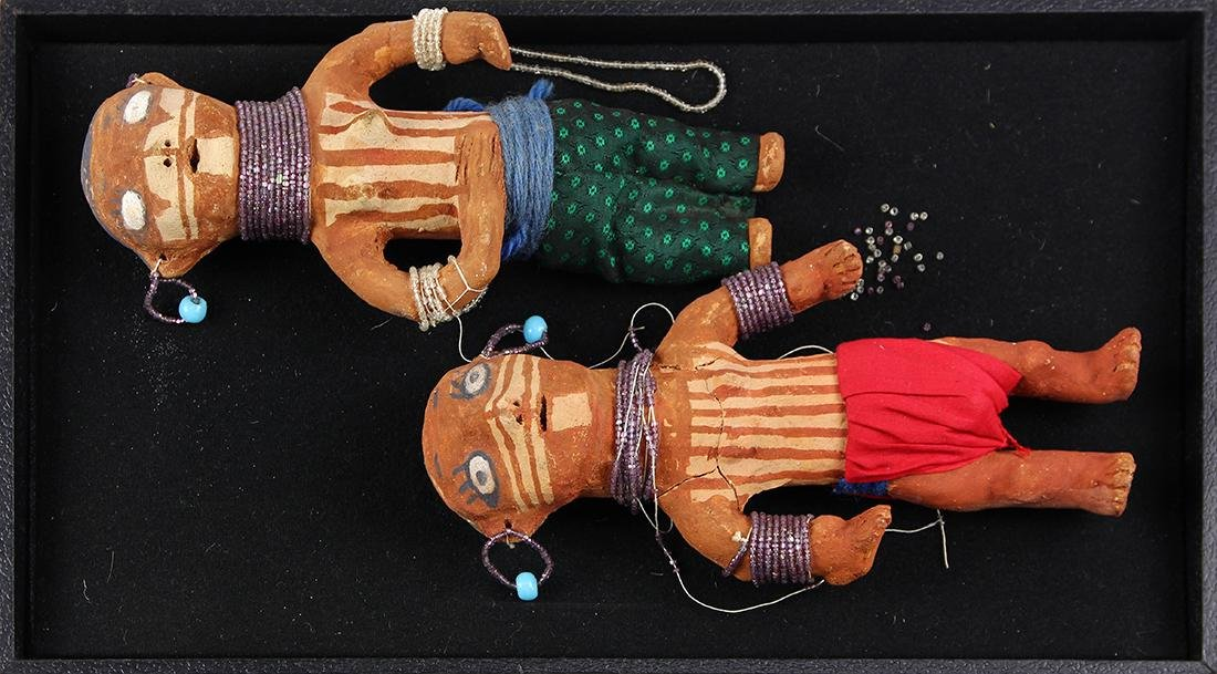 (lot of 2) Native American polychrome decorated figural