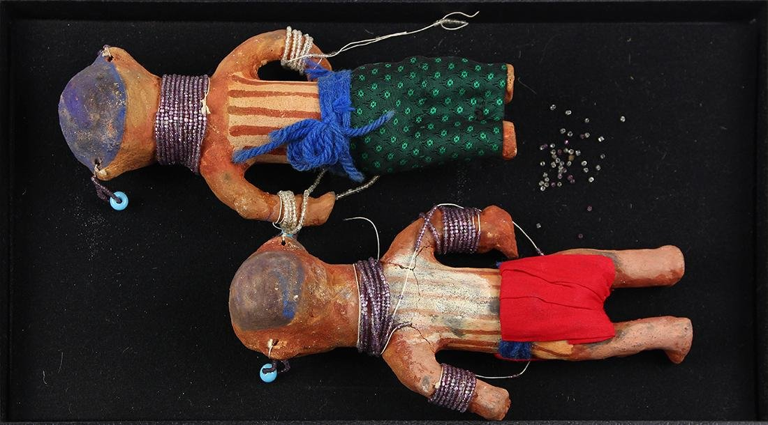 (lot of 2) Native American polychrome decorated figural - 2