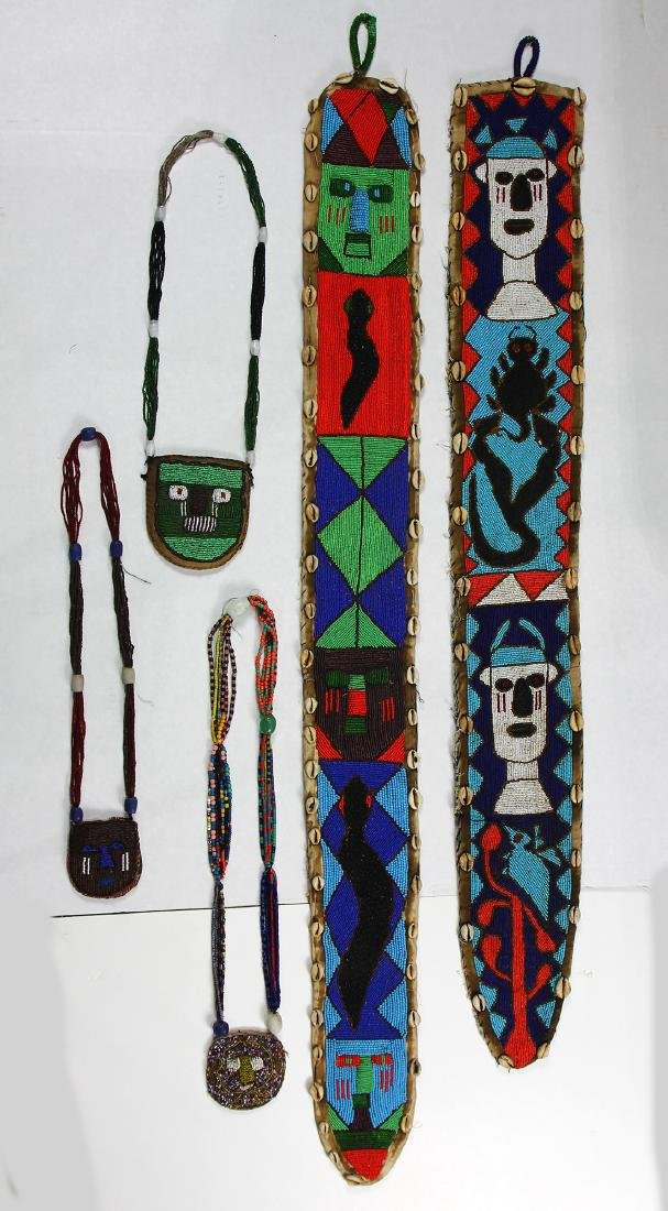 (lot of 5) Yoruba beaded group