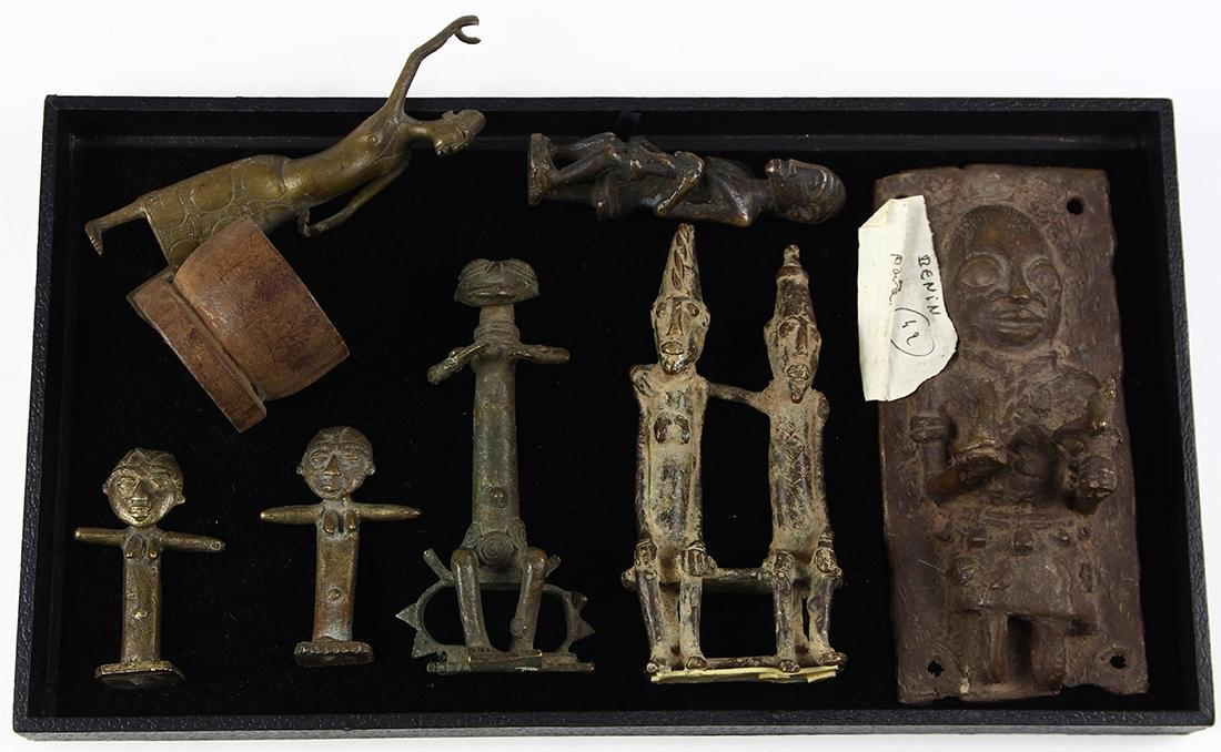 "(lot of 7) Ghana bronze ""gold weight"" figurines"