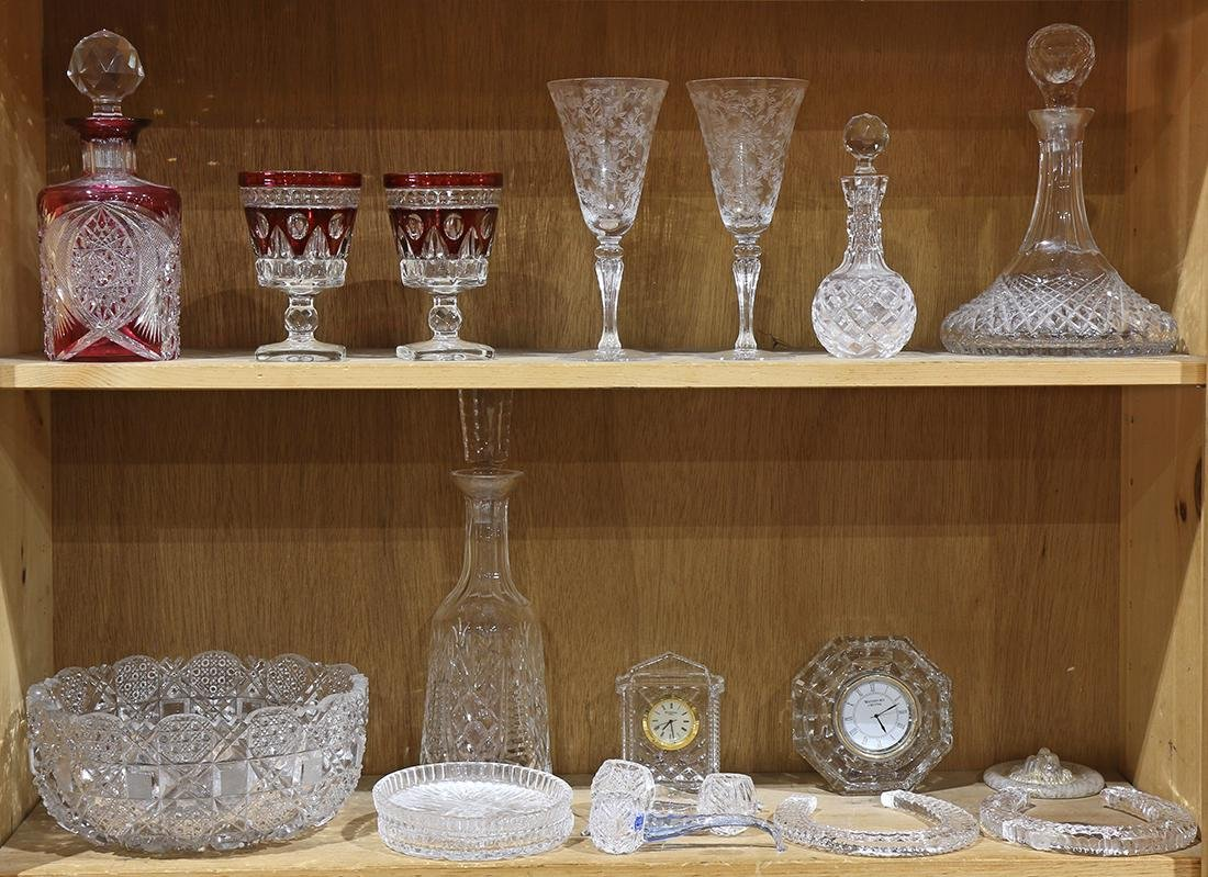 Two shelves of associated crystal