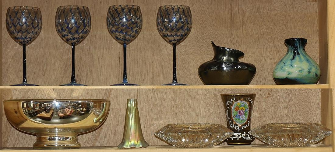 Two shelves of miscellaneous decoratives
