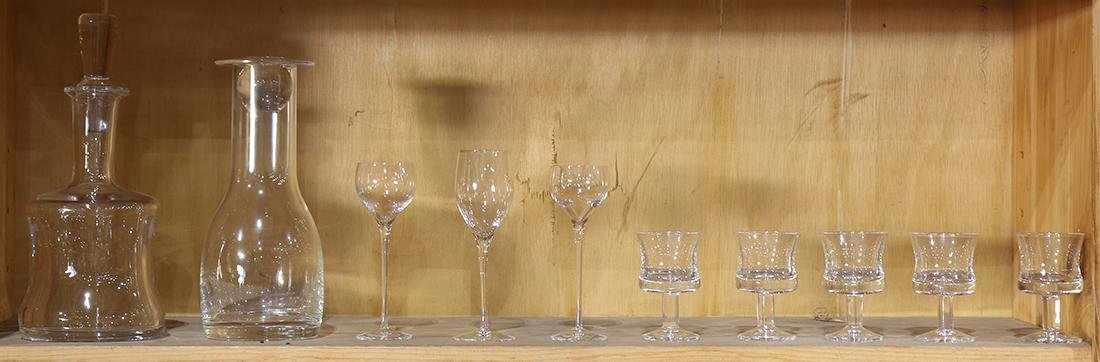 One shelf of glassware