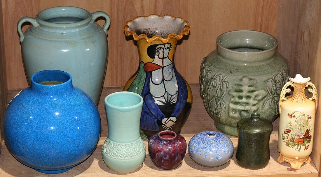(lot of 9) Art pottery group, one signed Lind, a Boches