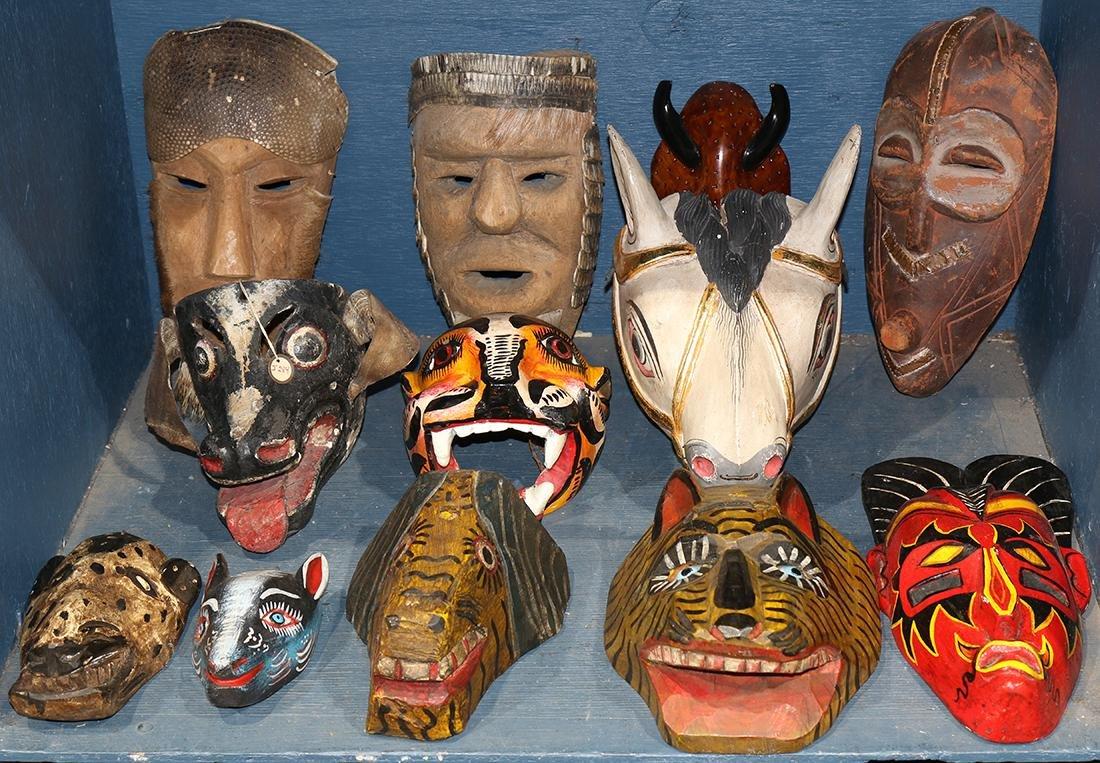 Three bins of decorative art including Native American,