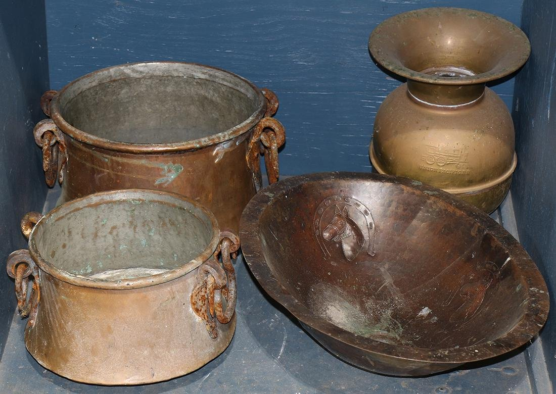 (lot of 4) Group of copper vessels