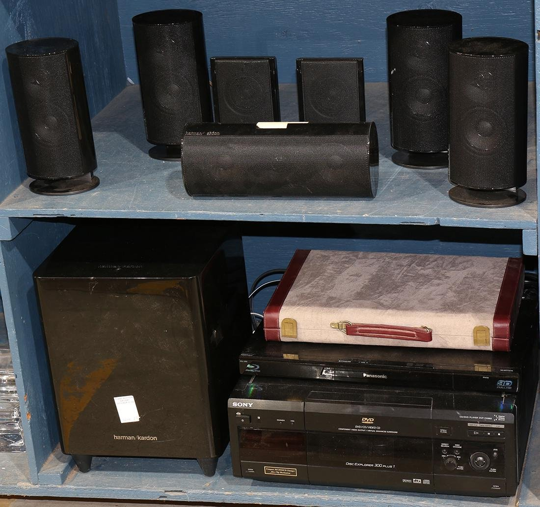 Two bins of speakers including Sony