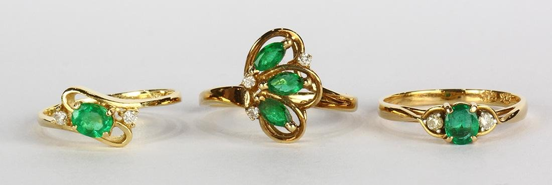 (Lot of 3) Emerald, diamond and 14k yellow gold rings