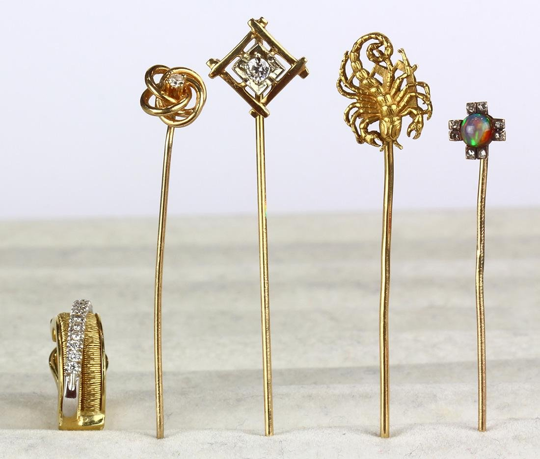 (Lot of 5) Diamond, opal and yellow gold stickpins and