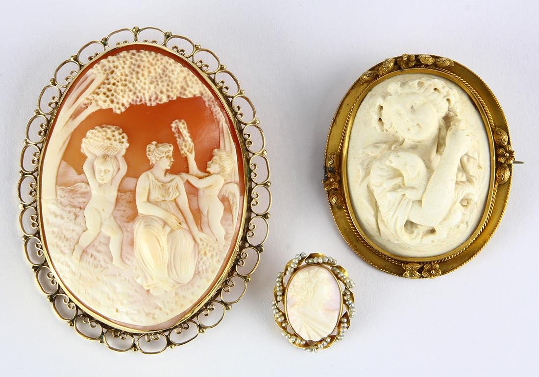 (Lot of 3) Shell and lava cameo, seed pearl and yellow