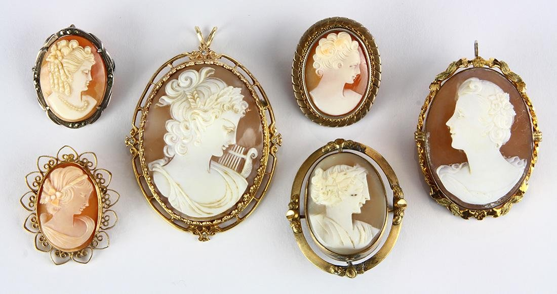 (Lot of 6) Shell cameo and metal brooches