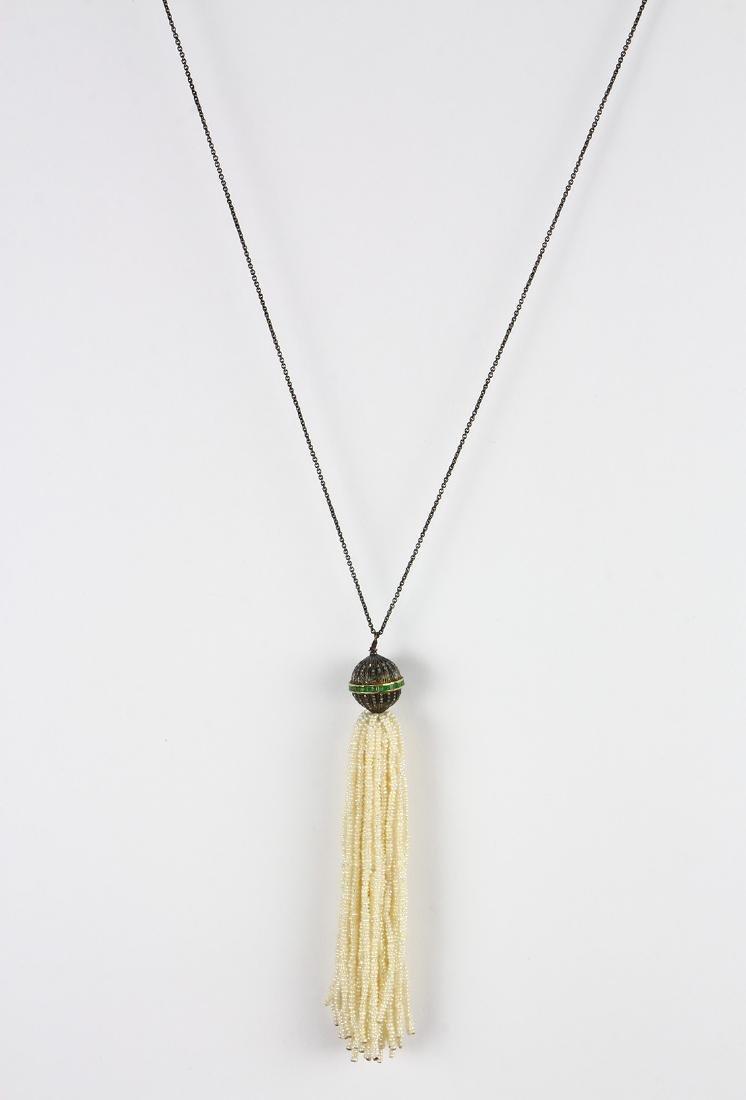 Emerald, diamond, freshwater cultured pearl, blackened - 2