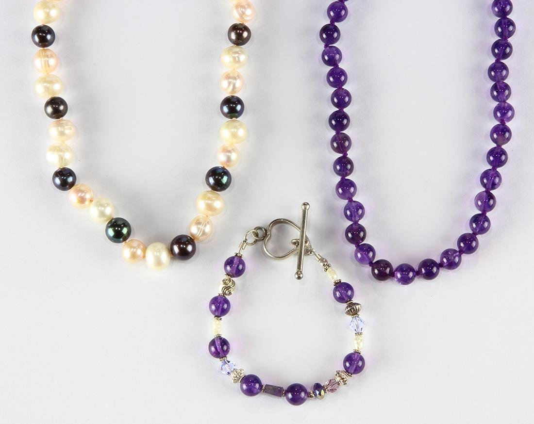 (Lot of 3) Amethyst, cultured pearl, sterling silver