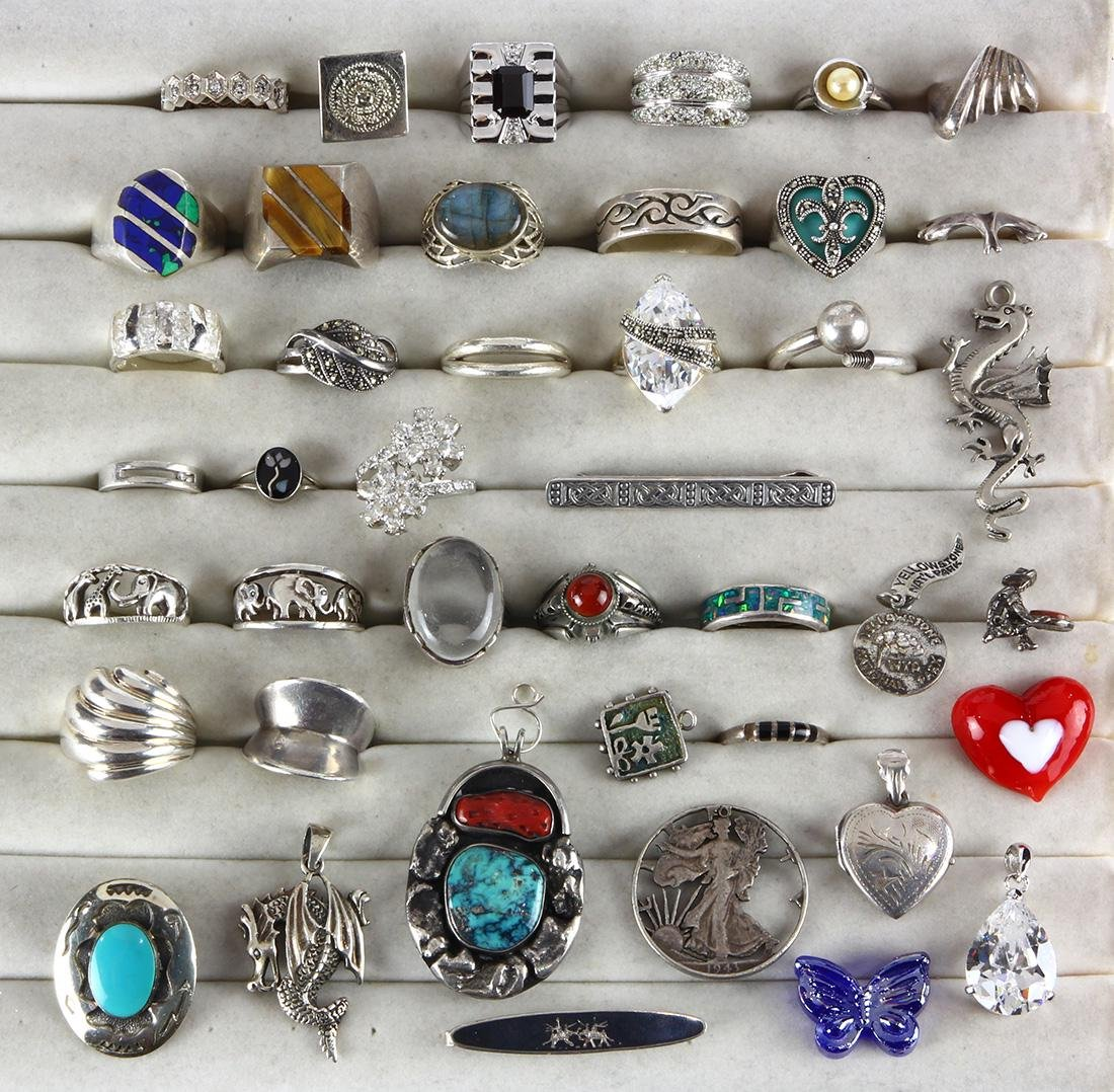 Collection of multi-stone, sterling silver, silver and