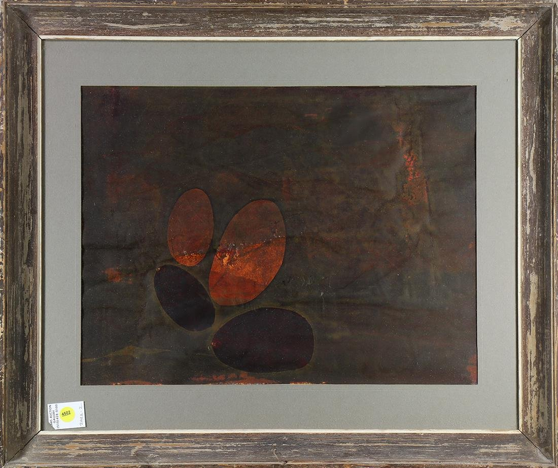 Mixed media, Untitled (Abstract in Orange and Black)