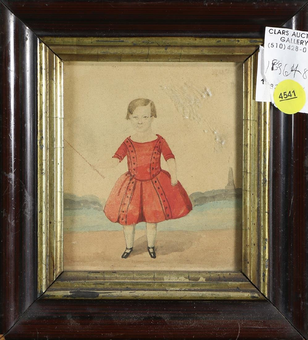 Young Girl in Red Dress, watercolor