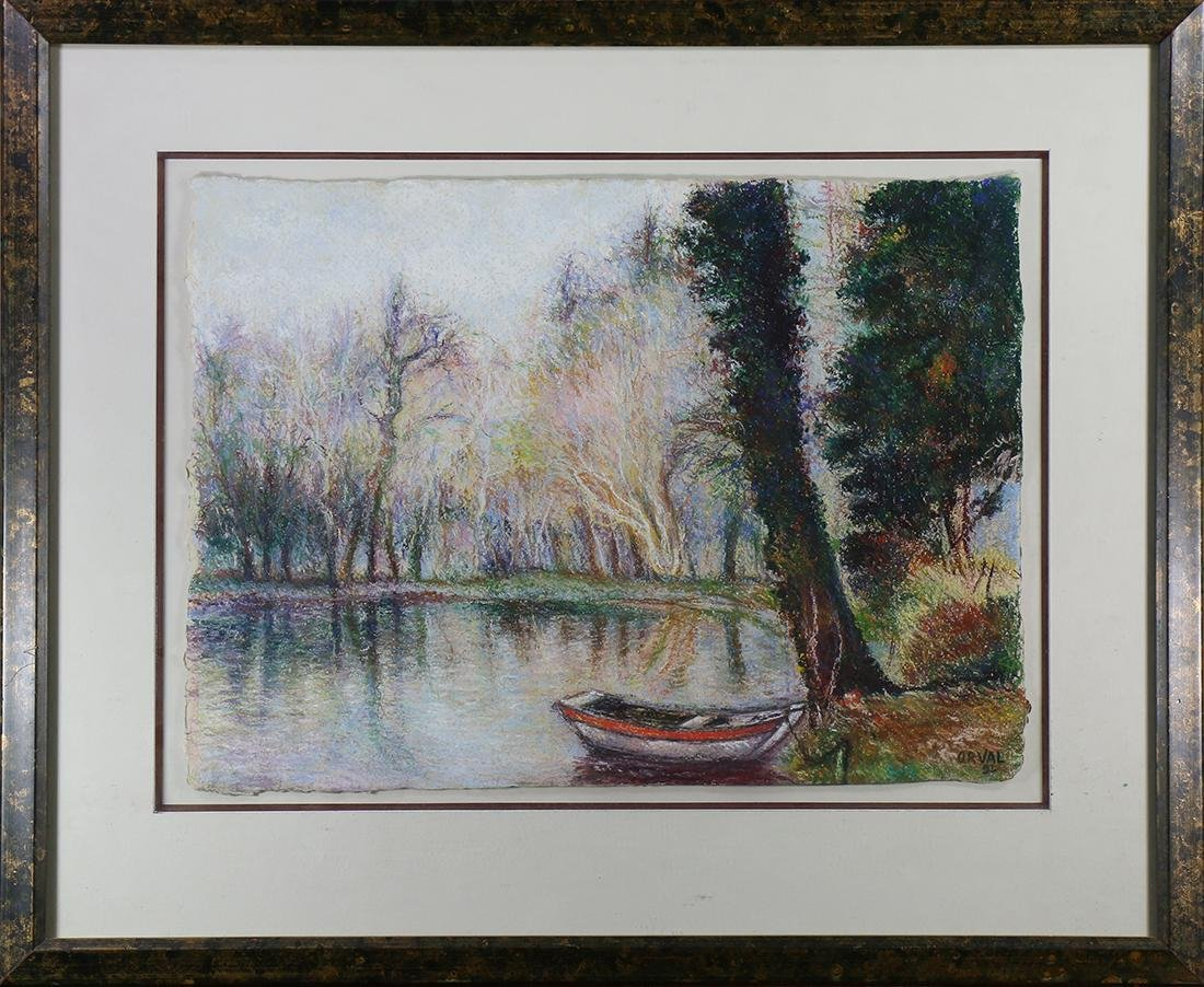Boat on a Lake, pastel