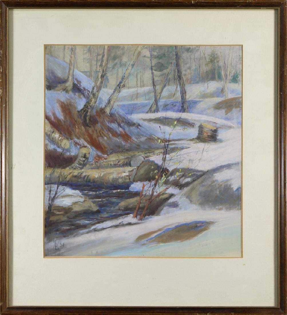 Painting, Wooded Snow Scene