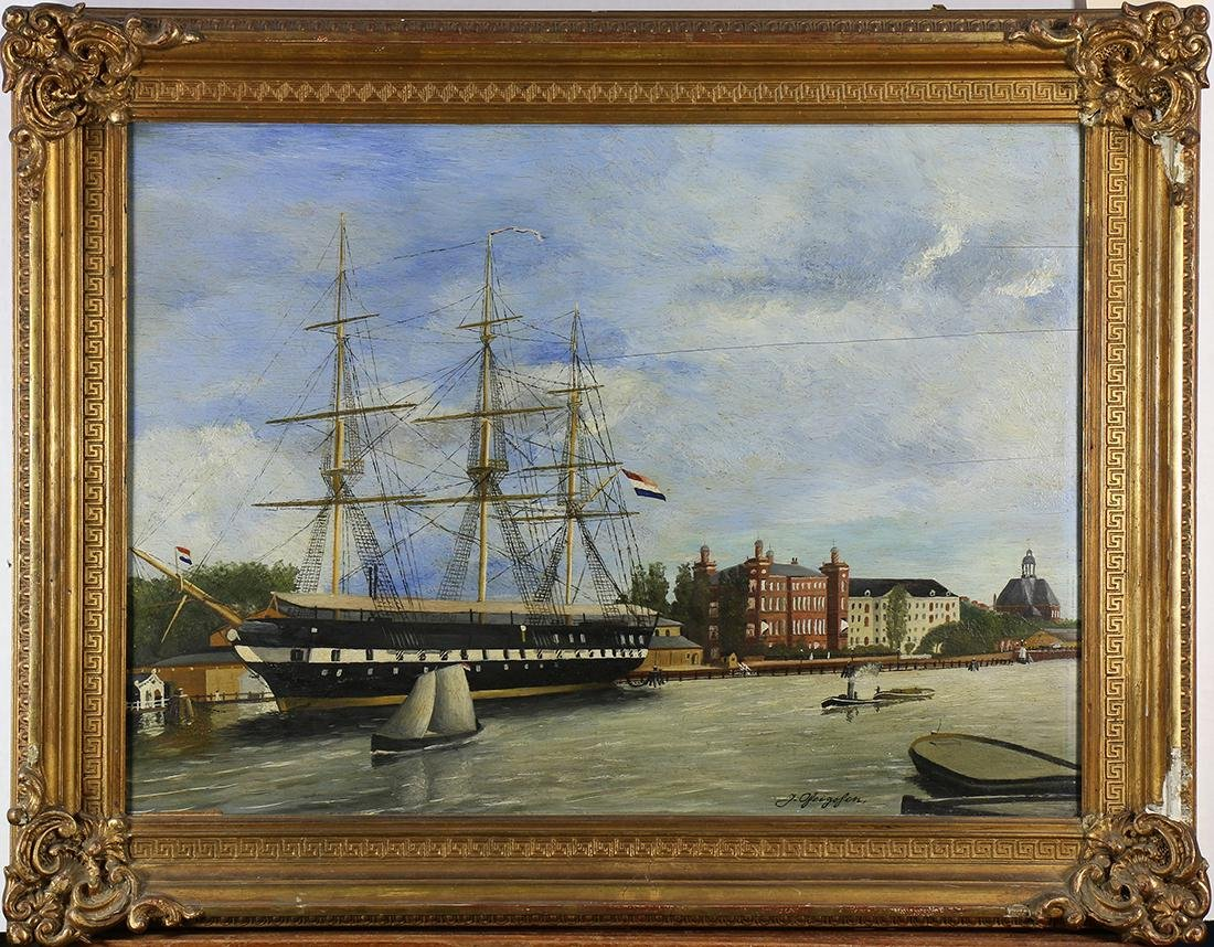 Painting, Harbor Scene with Ship