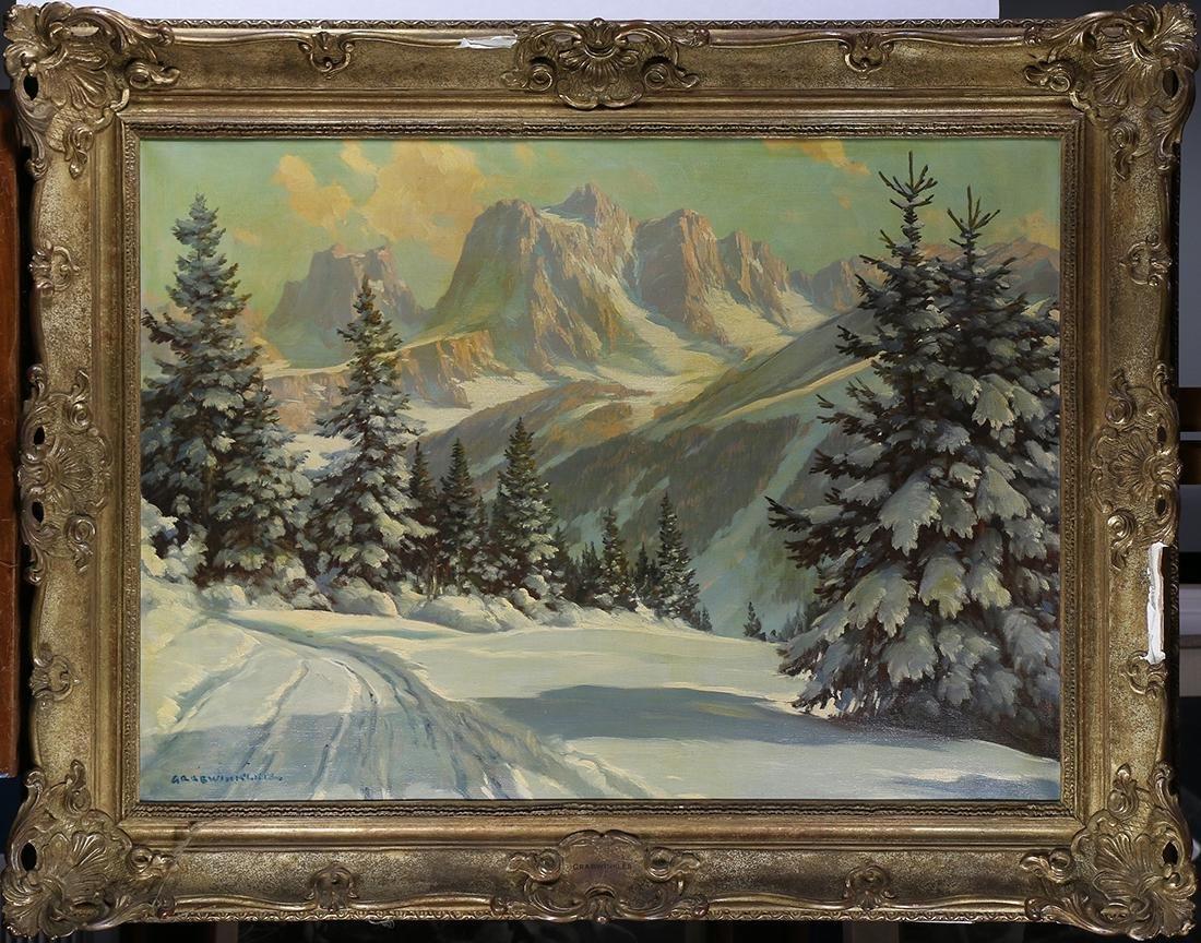 Painting, Snowy Mountain Scene