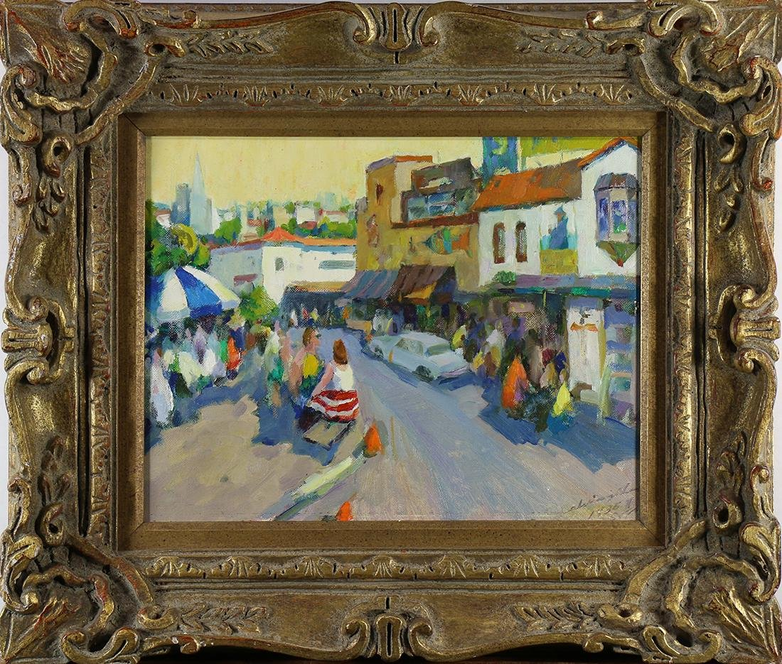 Painting, City Street Scene with Figures