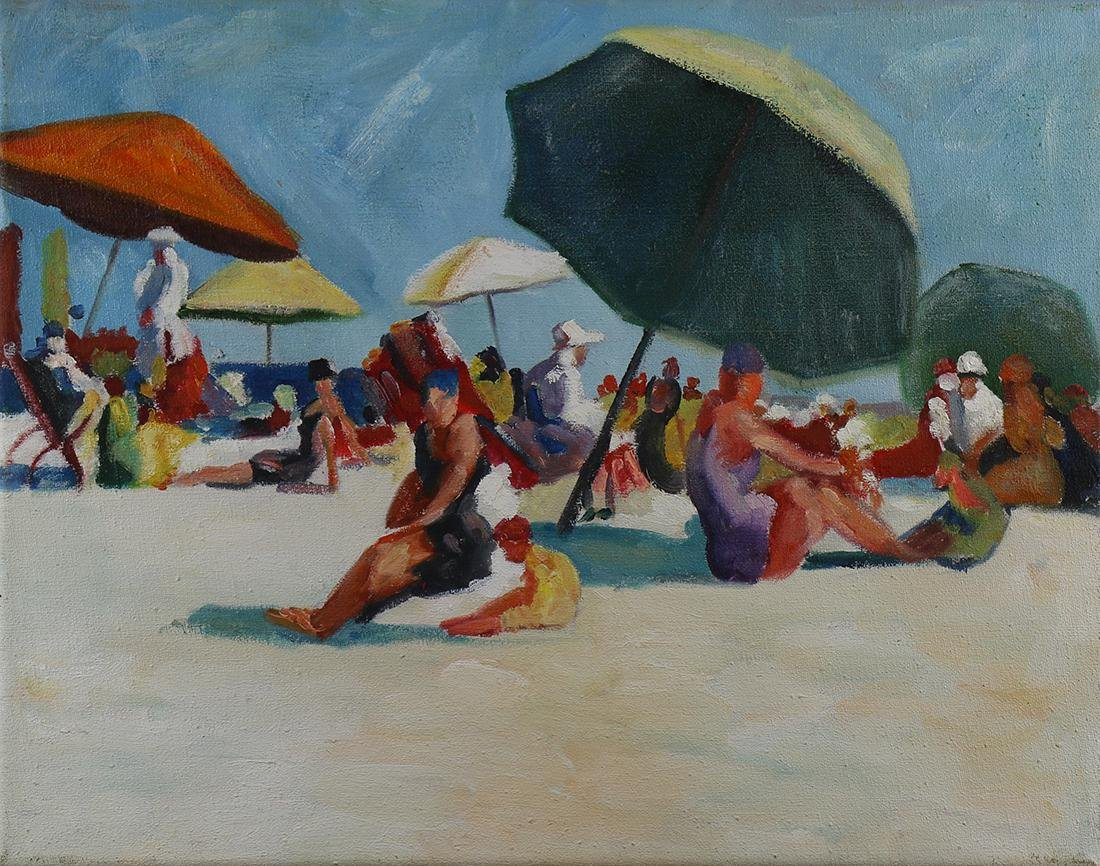 Painting, Beach Scene with Figures