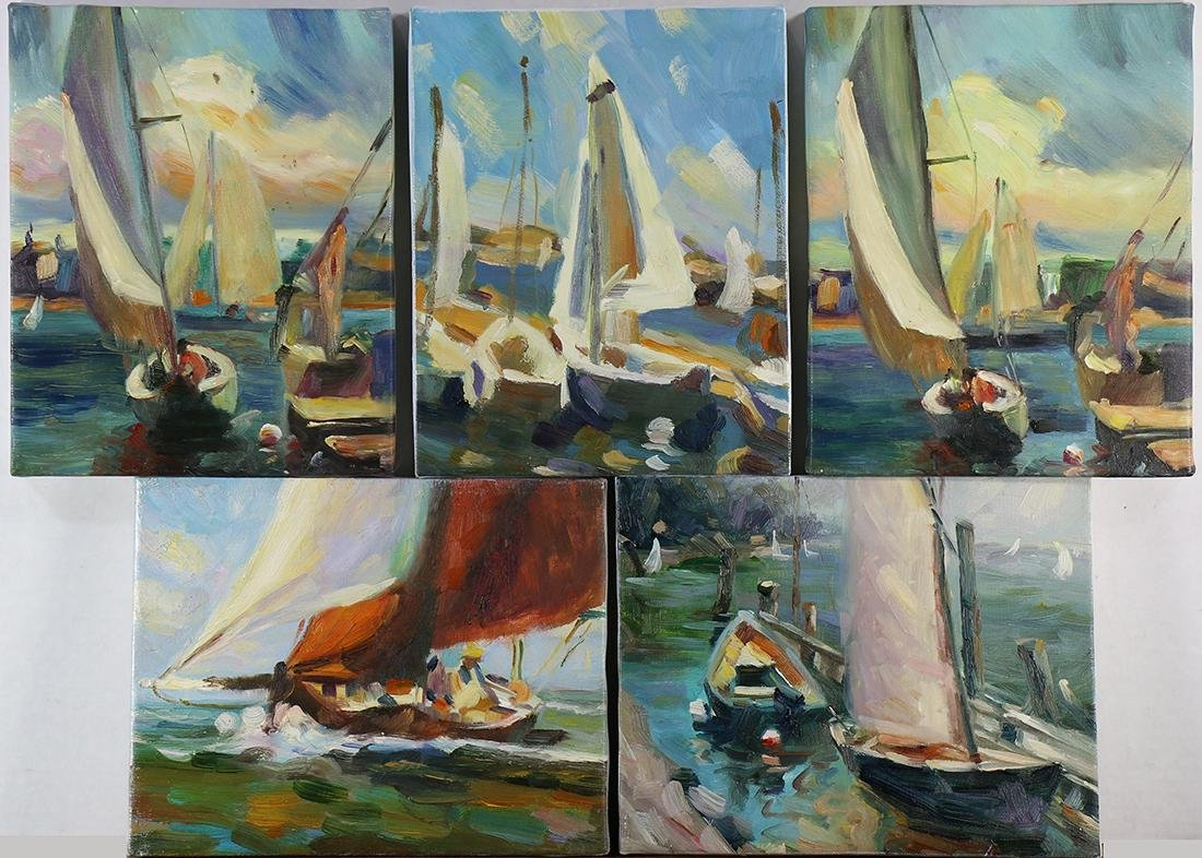 Paintings, Sailboat and Dock Scenes
